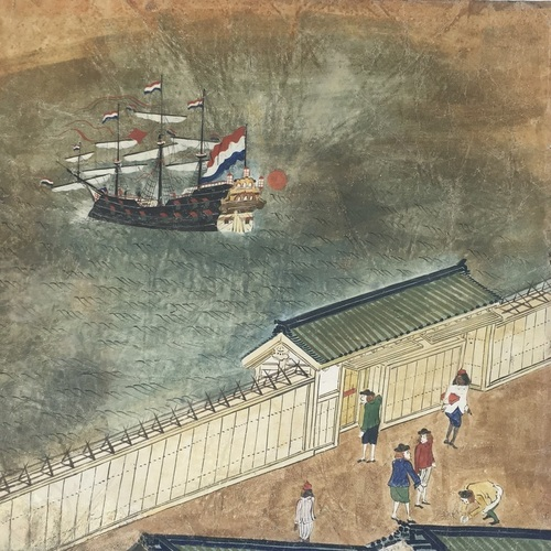 Dejima Painting on Parchment Magnificent depiction in colour