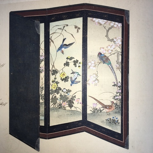 Important and Unique Manuscript Catalogue Album of Japanese Folding Screens (Byobu) with 55 exquisite, hand-drawn and hand-coloured designs