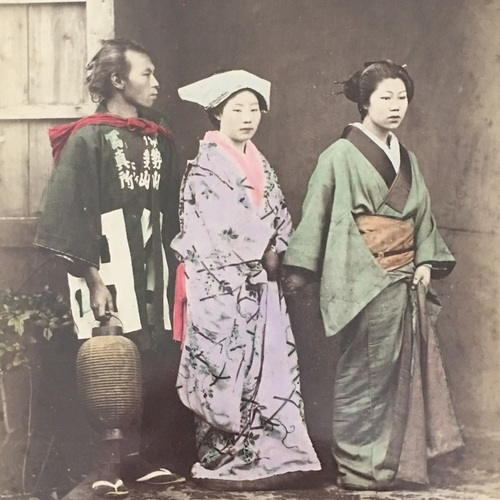 Man in Iseyama Photo Studio Happi Coat with Two Ladies Large format albumen of unknown studio