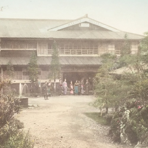 Large format photo of The Hakone Hotel Hand-coloured albumen photo