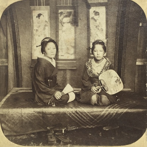 Stereo Photo of Two Japanese Ladies  by Pierre Rossier.