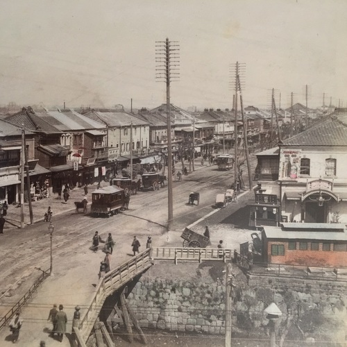 Large format photo of Shinbashi Bridge & Ginza Hand-coloured albumen photo
