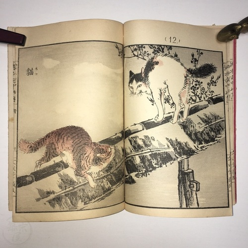 Lovely Woodblock Printed Book of Birds and Animals by Kono Bairei with English contents page