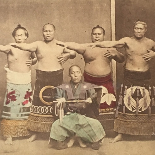 Medium format photo of Four Sumo Wresters and Referee Very scarce, early photo