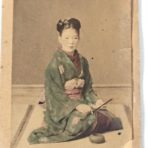 CDV of Japanese Woman in Kimono by Wilhelm Willmann Scarce photo on Yokohama studio mount
